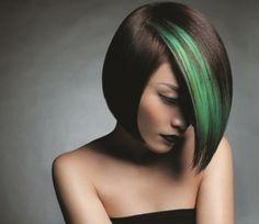 Medium bob hairstyle with terrific green highlights