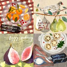 """my little series of cards for the festive season. organising printing this week, ill let you know when theyll be on sale""by Ann Hecht Photography Illustration, Love Illustration, Sketchbook Layout, Food Clips, Food Patterns, Food Drawing, Watercolor Artwork, Food Illustrations, Food Art"