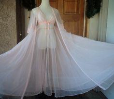 Vintage 70s Nightgown Peignoir Set Lace by caligodessvintage,