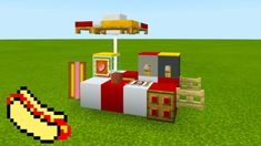 Minecraft Tutorial: How To Make A Hot Dog Stand 2019 City Tutorial Minecraft Shops, Minecraft Mansion, Minecraft House Tutorials, Cute Minecraft Houses, Minecraft Room, Minecraft House Designs, Amazing Minecraft, Minecraft Tutorial, Minecraft Blueprints