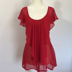 Forever 21  Sheer Red Flowey Top- Sm Lightweight, femine & flowey! Excellent condition Forever 21 Tops Blouses