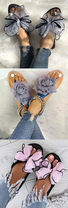 d85185615ebf Hot Sale!Large Size Women Summer Rhinestone Lace Organza Bow Knot Flat  Slippers