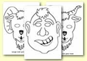 'The Three Billy Goats Gruff' colouring in mask