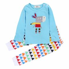 Baby Boy's Cotton Long-Sleeve Top Silly Donkey Graphic T-shirt & Triangle Patterned Pants/Bottom Set, 20% discount @ PatPat Mom Baby Shopping App