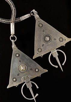 Moroccan Fibula | Large brooches with chain attached; silver and enamel