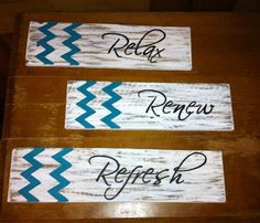 Chevron Sign - Shabby Chic, Beach Cottage or Bathroom Decor Relax Renew Refresh Wood Pallet Signs - Set of 3