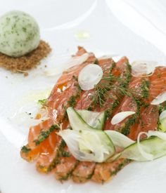 The lime sorbet in this wonderful gravadlax of salmon recipe adds a wonderful burst of acidity to complement the rich, oleaginous quality of the salmon. - Galton Blackiston
