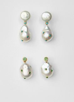 Celine | Baroque Earrings in Cultured Pearls, Turquoise and Gold Brass #cartonmagazine