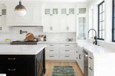 MODERN FARMHOUSE REMODEL – House of Brazier Modern farmhouse kitchen, black and white kitchen, white kitchen, custom kitchen remodel Small Kitchen Redo, New Kitchen, Kitchen Black, Kitchen Island, Kitchen Cabinetry, Kitchen Backsplash, Backsplash Ideas, Tile Ideas, Modern Farmhouse Kitchens