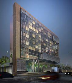 Taj Vivanta by WOW Architects Gurgoan, Delhi, India Floating glass facade with protruding light boxes