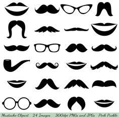 Mustache Clipart Clip Art, Glasses Clipart Clip Art, Lips Clipart Clip Art - Commercial and Personal Use. $6.00, via Etsy.