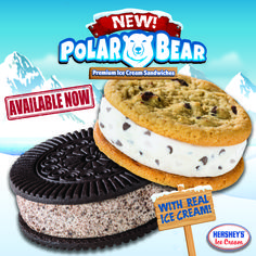 Our NEW Polar Bear Premium Ice Cream Sandwiches are now available in Chocolate Chip and Cookies & Cream and are made with REAL premium ice cream! Try one today! #HersheysIceCream #PolarBearIceCreamSandwiches