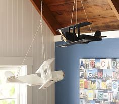 Hanging Wood Planes So necessary for the twins room!!!