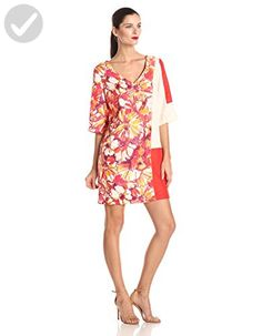 Donna Morgan Women's V Neck Printed and Color Block Shift Dress, Coral Multi, 4 - All about women (*Amazon Partner-Link)