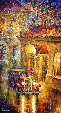 Last Cab — Palette Knife Large Abstract Wall Art Oil Panting On Canvas By Leonid Afremov. Oil Painting Texture, Oil Painting On Canvas, Painting Art, Painting Gallery, Painting Videos, Oil Paintings, Art Gallery, Composition Photo, Arte Indie