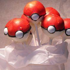 Pokemon pokeball cake pops.