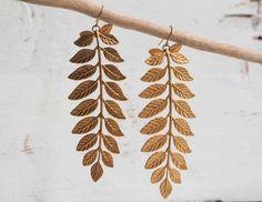 Large Gold LEAF BRANCH Earrings