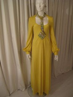 Vintage 1970's Loris Azzaro Canary Yellow Silk Jersey Gown