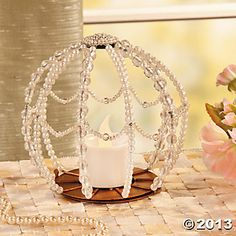 Round Beaded Candleholder - Turn a tall stemmed wine glass over, put a flower in under glass and set candleholder on top. One on each side of the table would be nice. Outdoor Wedding Reception, Our Wedding, Wedding Ideas, Dream Wedding, Wedding Inspiration, Reception Party, Wedding Card, Wedding Themes, Wedding Details
