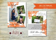 Instant Download Kelly Card 5x7 Senior Graduation by deeshutterbee, $7.00