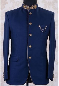 58be0a758 Jodhpuri Suits-Navy Blue-Zardosi Work-ST626 Reception Suits, Sherwani Groom,