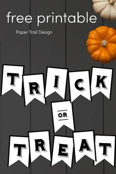 Use this free printable trick or treat Halloween banner to add some fun easy and cheap Halloween decor to your home. #papertraildesign #trickortreat #halloween #halloweendecor #halloweenideas #trickortreatbanner