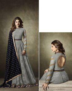 Jennifer Winget Grey Designer Anarkali Suit