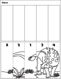 $1 | Dinosaur scene cut and order for numbers 1-5. Package includes five no prep worksheets. #preschool #preschoolers #preschoolactivities #kindergarten #Homeschooling #mathcenters #dinos #dinosaur