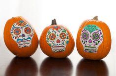 No carve halloween Pumpkin ideas - The sugar skulls one