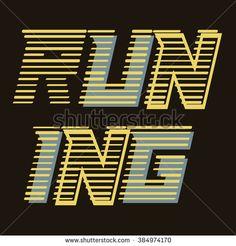 Running sport, typography, t-shirt graphics, vectors