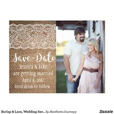 "Burlap & Lace, Wedding Save the Date Postcard This beautiful wedding save the date, designed by Aesthetic Journeys, features your photo on a burlap and lace background with ""save the date"" in lovely cursive. A white heart is also included on the back. Use the template to input your details or the ""customize it"" button to change the design. Check our shop for matching items or different colors."
