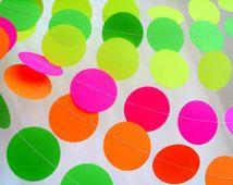 """NEON Papier Girlande 2 """"Kreis Papier Girlande wählen Sie die Länge Dayglow Partei Dekor Teen Tween Neon gelb Neon pink Neon Geburtstagsparty"""