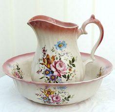 Staffordshire Small Jug & Bowl Pink & Floral.
