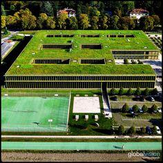 Green rooftop in Switzerland Panorama 360, Geneva Switzerland, Green Roofs, Aerial View, Rooftop, Fields, Sony, Image