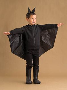 These kids halloween costumes are faster than the lineup at the party store and easier than one of those fancy pumpkin-carving stencils. Bat Costume Boy, Toddler Vampire Costume, Toddler Bat Costume, Halloween Costumes Kids Homemade, Diy Halloween Costumes For Kids, Halloween Kostüm, 50s Costume, Vampire Costumes, Hippie Costume
