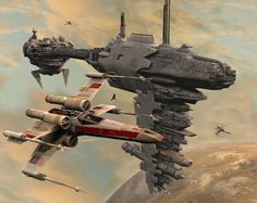 Star Wars: Medical Frigate and X-Wing from the Rebel Alliance fleet by ~DryJack on deviantART