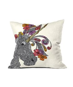 A unicorn pillow? Yes, please. (I'm obsessed with unicorns. Can't believe it happened to me in my 30s and not when I was 8.) :: Unicornucopia Throw Pillow by Valentina Ramos