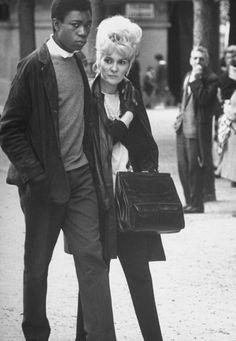 Love in Paris. I love the classic photos of interracial love.