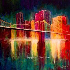 Original Acrylic Painting of 'Brooklyn Bridge' by by GrayArtus www.grayartus.com $350