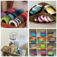 Mel Stampz: Crafty tape ideas round-up! {washi or other tape varieties - How to: make them, use them, and store them} Washi Tape Storage, Washi Tape Crafts, Craft Storage, Washi Tapes, Creative Storage, Storage Ideas, Cinta Washi Tape, Masking Tape, Scrapbook Room Organization