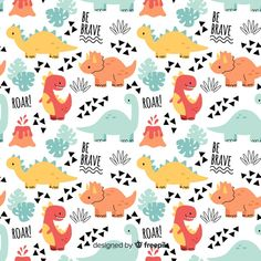 Colorful doodle dinosaurs and words pattern Free Vector Dinosaur Pattern, Cute Dinosaur, Dinosaur Party, Dinosaur Birthday, Surface Pattern Design, Pattern Art, Cute Backgrounds, Cute Wallpapers, Die Dinos Baby