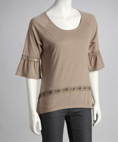 Take a look at this Toffee Ruffle-Sleeve Top by CONTACT on #zulily today!