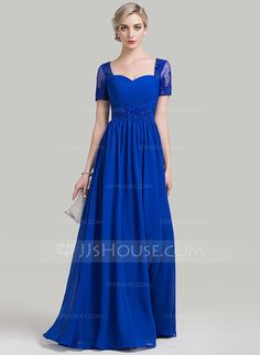 A-Line/Princess Sweetheart Floor-Length Ruffle Beading Appliques Lace Sequins Zipper Up Covered Button Sleeves Short Sleeves No 2016 Royal Blue General Plus Chiffon Mother of the Bride Dress
