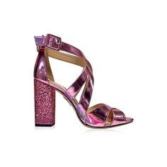 Charlotte Olympia Shoes Apollo Rose Quartz Metallic Leather and... ($700) ❤ liked on Polyvore featuring shoes, sandals, pink, pink leather shoes, charlotte olympia, real leather shoes, pink shoes and pink leather sandals