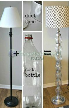 Lampe poot van lege plastic flessen