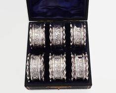 6 antique sterling silver napkin holders with foliate pattern in original box, British sterling, 1899 by CardCurios on Etsy Blue Satin, Blue Velvet, Napkin Holders, Ginger Jars, Paper Texture, Silver Plate, Napkins, British, Monogram