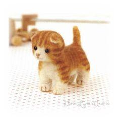 Japanese Needle Wool Felt Mascot DIY Kit - Munchkin Cat - Sachiko Susa - Kawaii Hamanaka - JapanLovelyCrafts