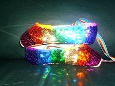 Rainbow ballet glitter slippers