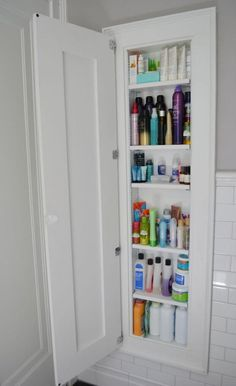25 Brilliant Built-in Bathroom Shelf and Storage Ideas. 25 Brilliant Built-in Bathroom Shelf and Storage Ideas - Page 9 of Extra Tall Medicine Cabinet with Wooden Door Image Source Bathroom Drawers, Bathroom Storage Shelves, Bathroom Cabinets, Organized Bathroom, Closet Shelves, Drawer Storage, Bathroom Vanities, Storage For Small Bathroom, Bathroom Ideas