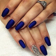 Give some glitz to your mad-matte manicure with a dazzling accent nail.